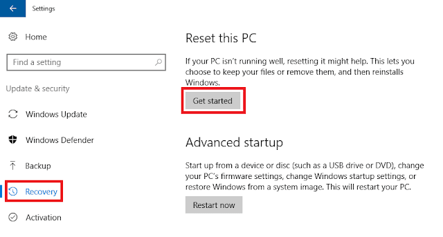 2 Cara Mereset / Restore Sistem Operasi Windows 10
