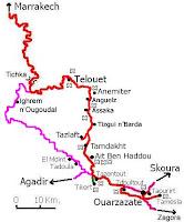 Mapa hasta Ouarzazate.