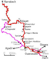 Mapa de Marrakech a Ouarzazate.