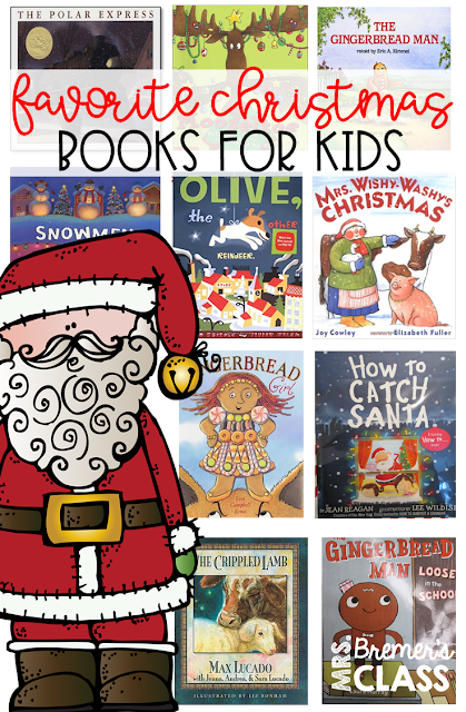 Favorite Christmas books for kids! Featuring popular books and classroom activities to go with How to Catch Santa, The Polar Express, The Gingerbread Man, Olive the Other Reindeer, Mooseltoe, Snowmen at Christmas, Mrs. Wishy-Washy's Christmas, and more!