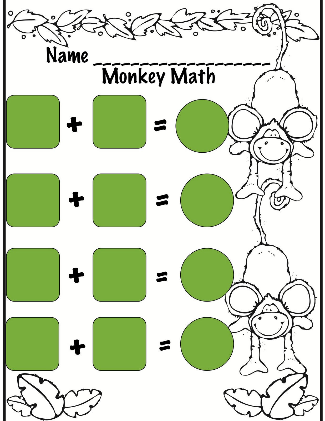 Kindergarten Night Owls Monkey Math Work