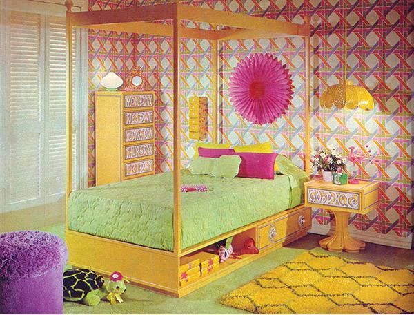 Sebuah desain retro yaitu semua desain yang mengkreasikan kembali tampilan funky dari pe Desain Kamar Tidur Funky dan Retro