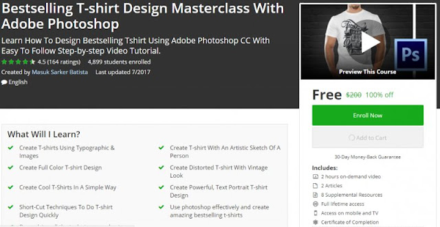 [100% Off] Bestselling T-shirt Design Masterclass With Adobe Photoshop| Worth 200$