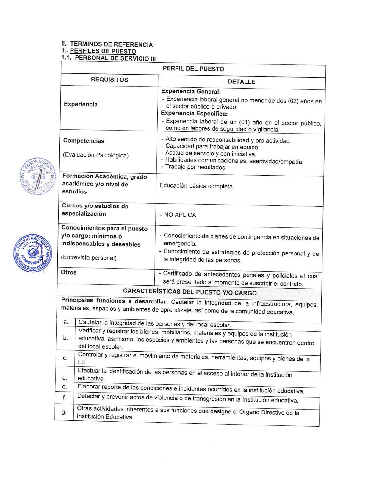 Convocatoria cas para trabajador de servicio iii ugel for Convocatoria para docentes