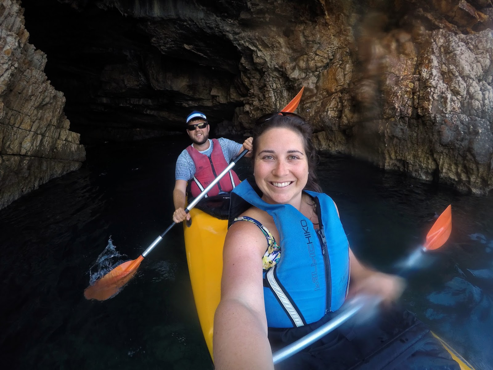 Couple Kayaking in caves with Adriatic Kayak Tours