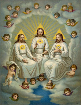 CATHOLIC IMAGE OF THE TRINITY SHOWING THREE GODS.