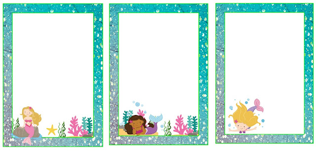 Sweet Mermaids: Free Printable Frames, Invitations, Cards or Labels.