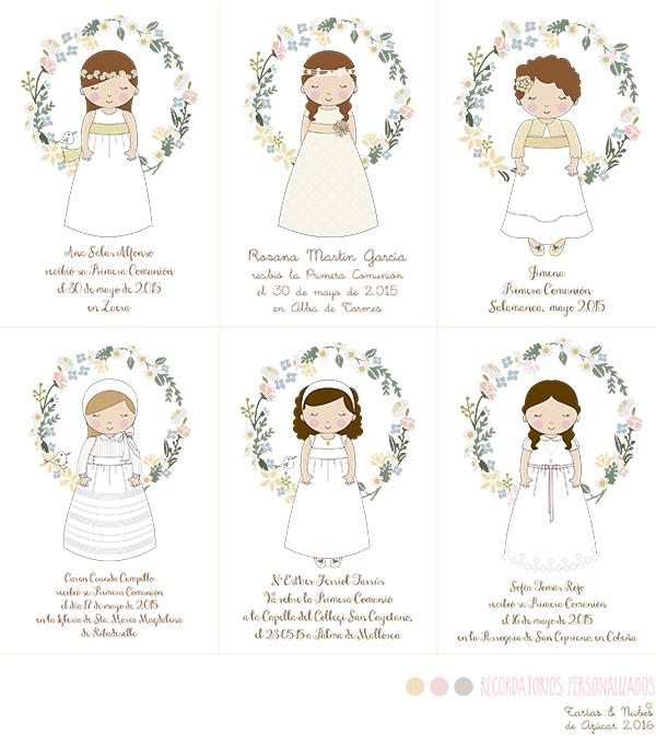 Recordatorios Primera Comunión personalizados niñas