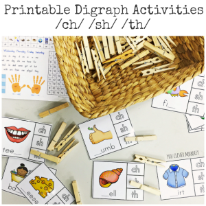 Ready to print Digraph Activities - ch/sh/th sounds | you clever monkey