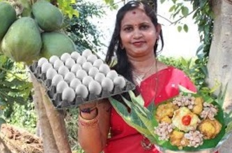 Village Style Tiger Prawns Eggs Mixed Curry Recipe Cooking in My Village – Traditional Way of Eggs