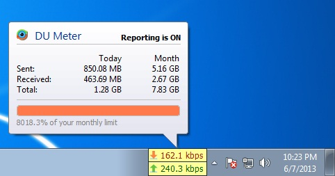 Best Software to track Internet Data Usage: DU Meter