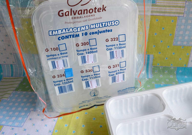 Bandeja refeição com 4 divisórias G 324 Galvanotek com 10 unidades na sacolinha!