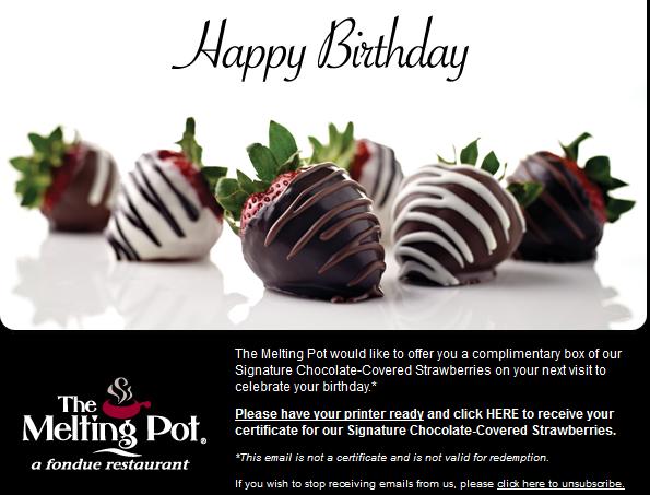 image regarding Melting Pot Coupons Printable called Birthday Freebies