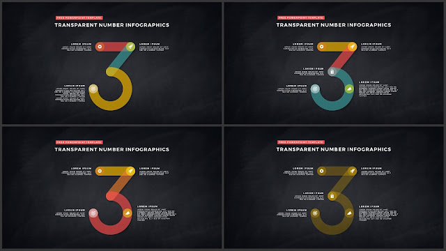 Infographic Transparent Design Elements for PowerPoint Templates in Dark background using Number 3
