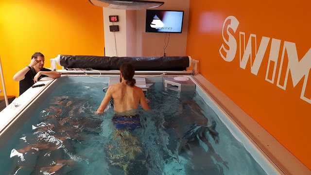 Ultra-marathon runner Mike Wardian on the Endless Pools Underwater Treadmill with Coach Dominic Latella at SwimBox, Fairfax, Virginia
