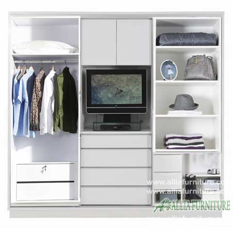 lemari minimalis baju unit tv model white