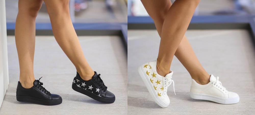 Adidasi fete moderni albi, negri cu stelute aurii ieftini 2017