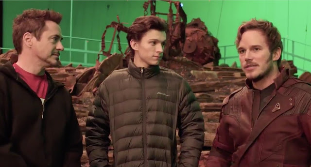 robert downey jr tom holland chris pratt on set
