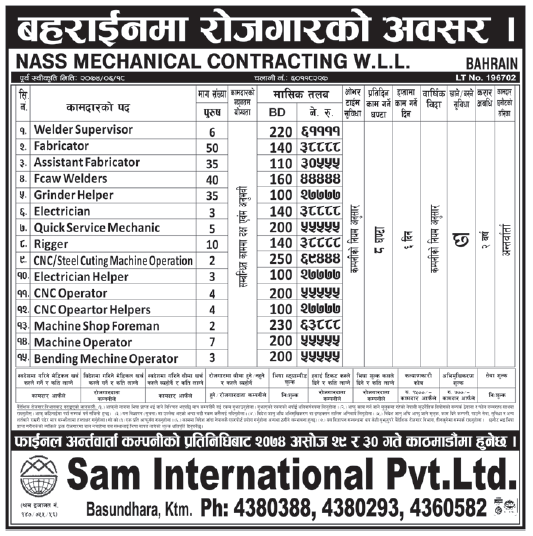 Jobs in Bahrain for Nepali, Salary Rs 69,444