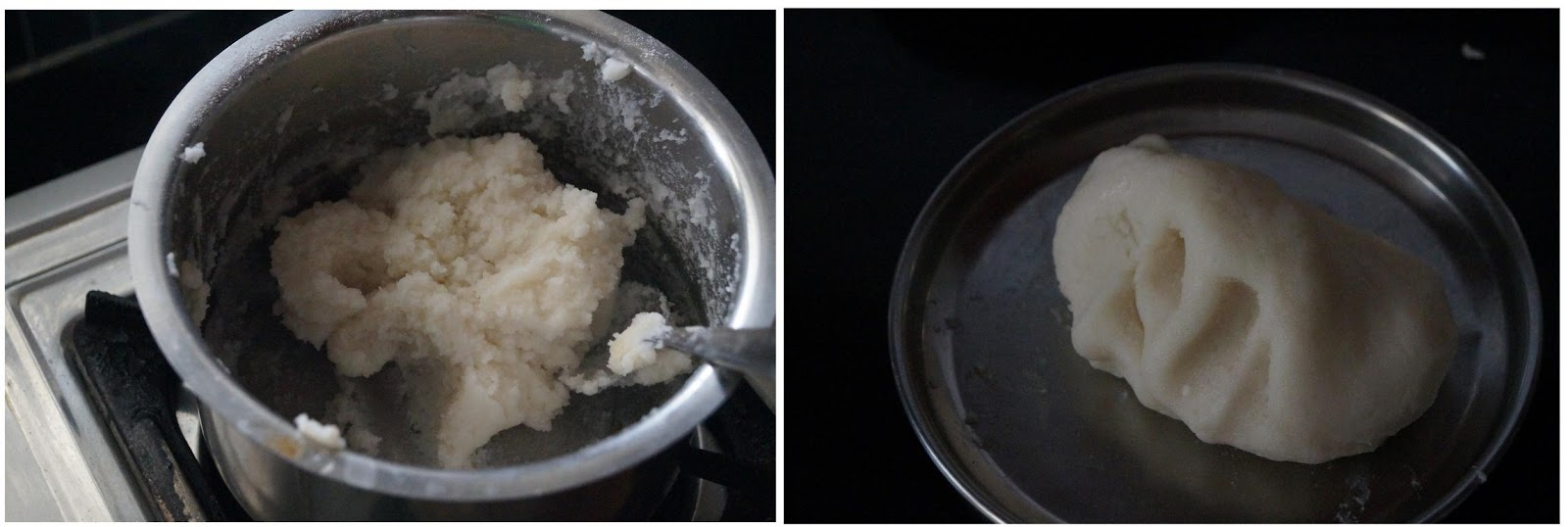 making the rice flour dough to make undralla payasam