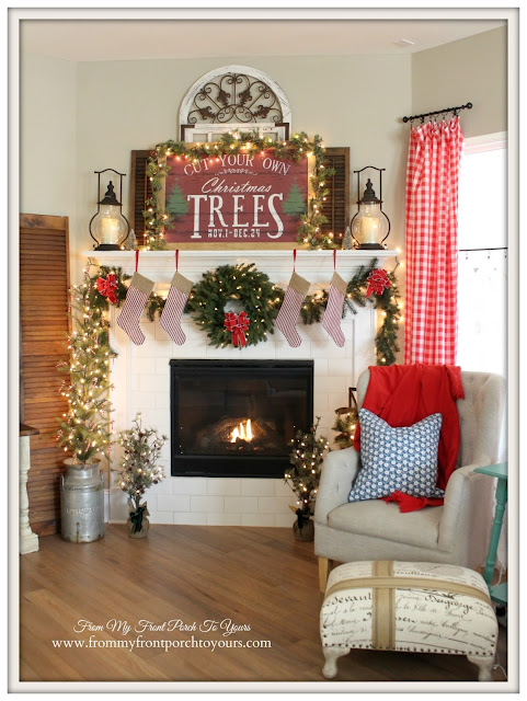 Suburban Farmhouse Christmas-Red Check Curtains-Christmas Tree Sign--Farmhouse Christmas Mantel- From My Front Porch To Yours