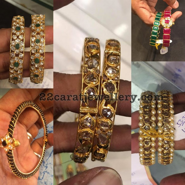 Gemstones and Black Beads Bangles