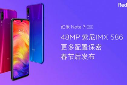 Harga Dan Spesifikasi Redmi Note 7 Pro Siap Melncur Minggu Depan