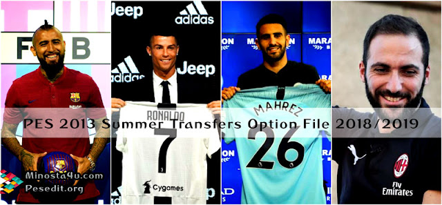 PES 2013 Option File Summer Transfers 2018/2019 By Minosta4u