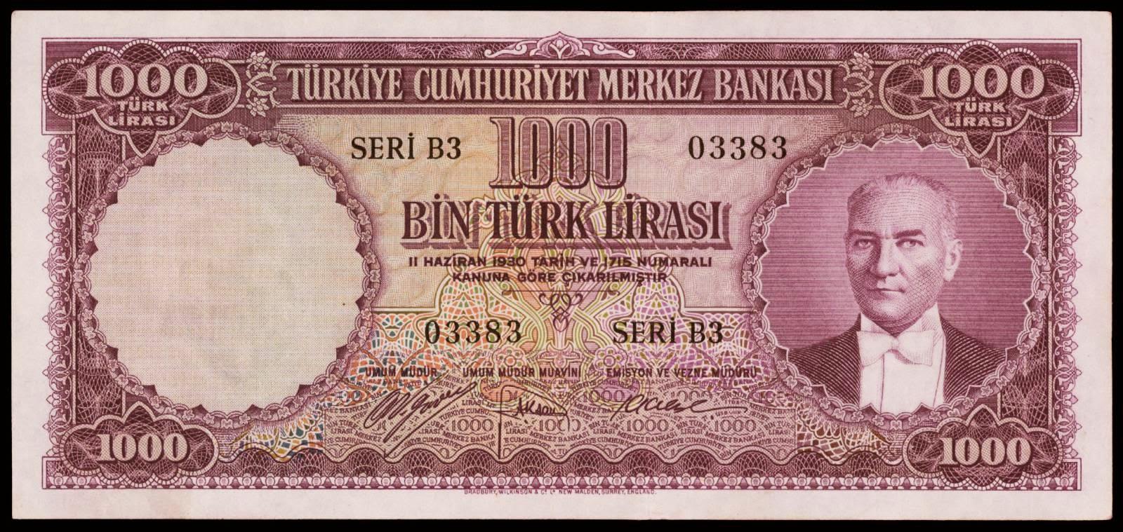 Turkey banknotes 1000 Turkish Lira banknote 1953 Atatürk