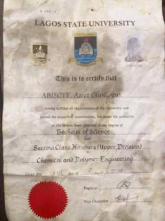 This Original Certificate below was used to wrap suya for me last night