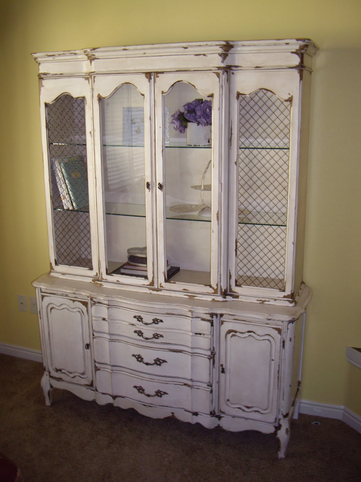A Brush Of Whimsy: Tea-Stained White China Hutch
