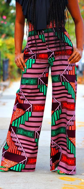 ankara fashion, african fashion, prints, high waist trousers
