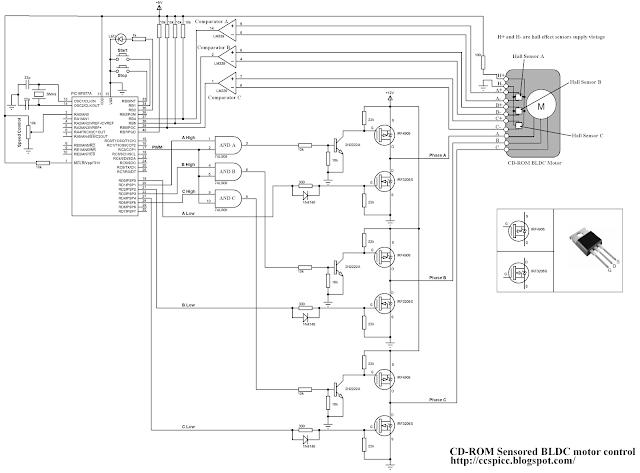 CD-ROM sensored BLDC motor control using PIC16F877A microcontroller circuit CCS PIC C