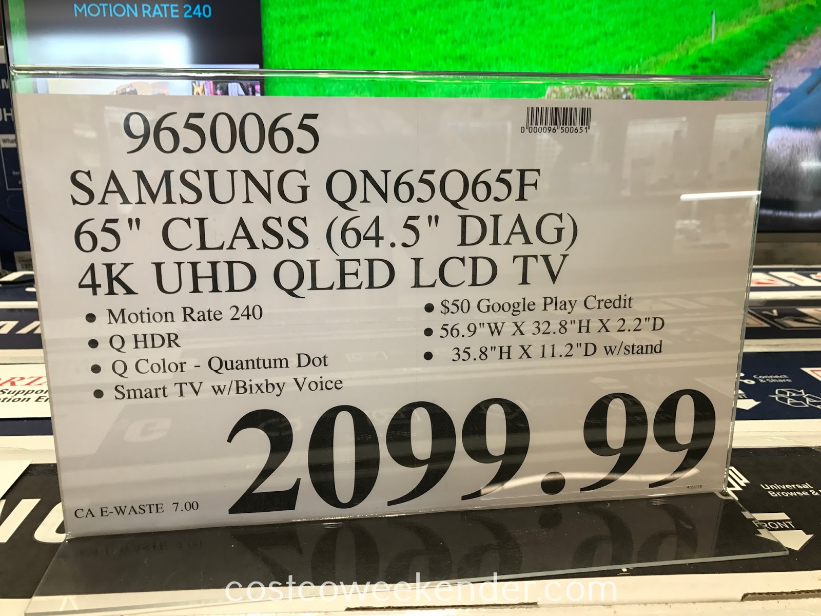 Deal for the Samsung QN65Q65F 65in tv at Costco