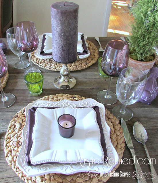 Tablescape with romantic and rustic touches, suitable for Valentine's Day or any day you want to make your guests feel welcome.