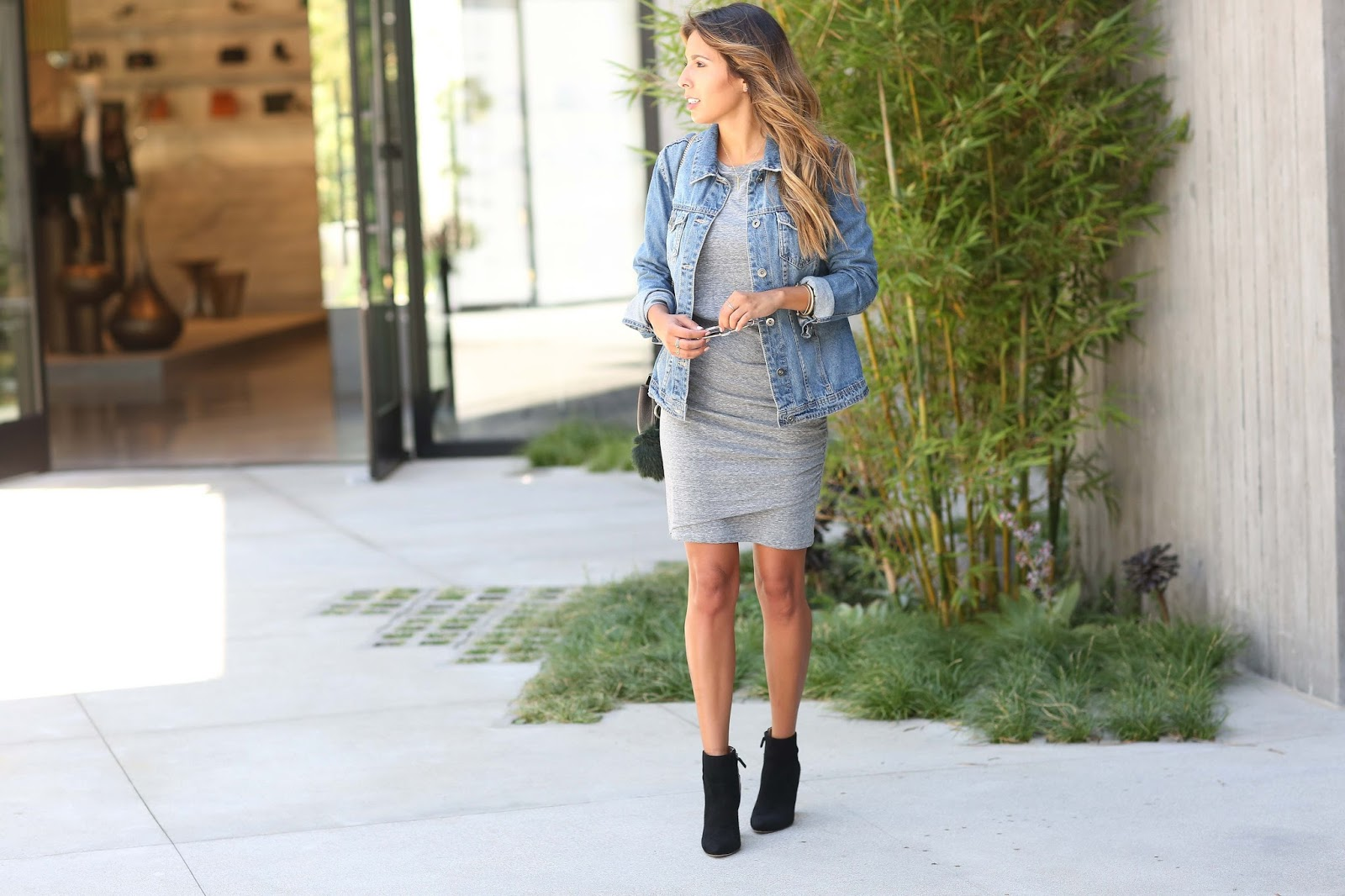 fall staples, nordstrom, how to wear denim jacket, how to wear booties with dresses