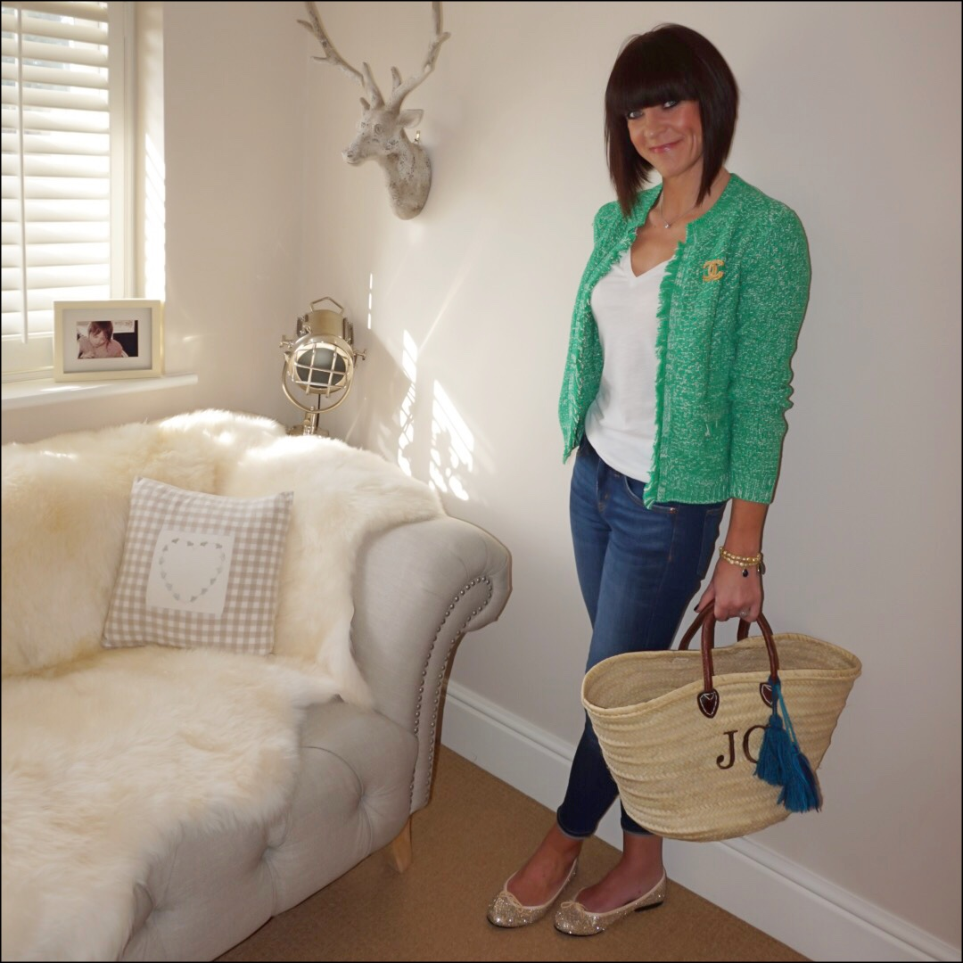 "my midlife fashion, hush basket stitch jacket, j crew vintage v neck tee, j crew 8"" toothpick skinny jeans, french sole india glitter ballet pumps, initially london covent garden medium basket shopper, chanel vintage brooch"