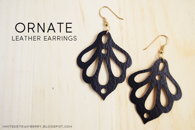 leather ornate earrings cutout