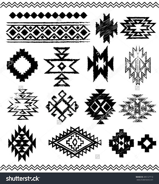 Hand  Drawn Look Aztec  Navajo  Indian Vector Pattern Pages