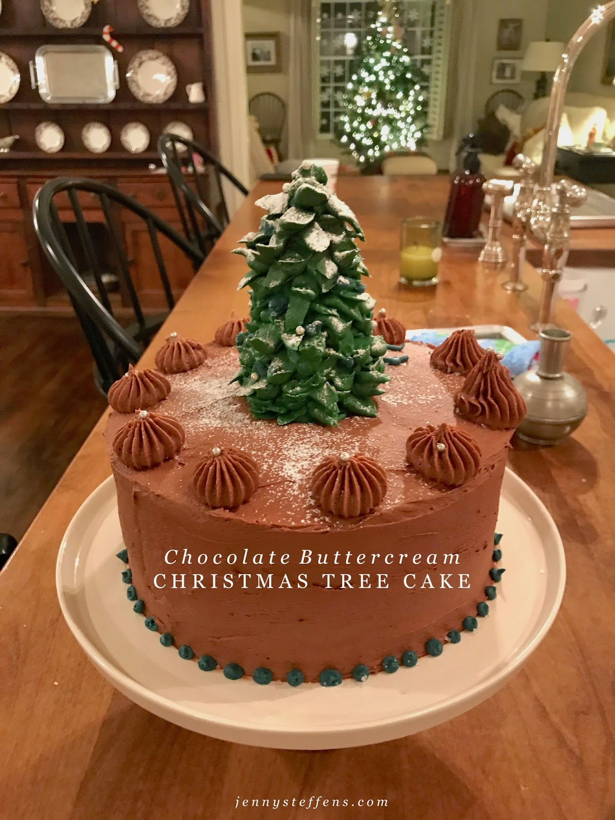 Jenny Steffens Hobick Chocolate Buttercream Christmas Tree Cake