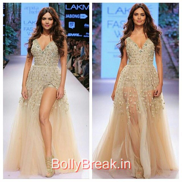 esha gupta walks on the ramp for arpita mehta at lakme fashion week., Esha Gupta in Arpita Mehta Dress - Lakme Fashion Week 2015