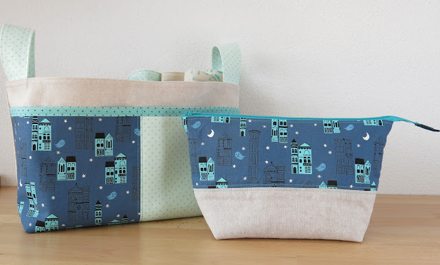 Luna Lovequilts - Divided Basket and Open Wide pouch in Cotton and Steel fabrics - For sale