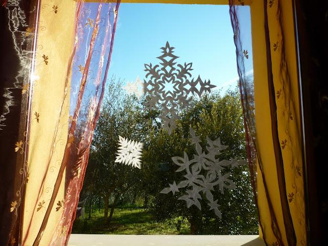 śnieżynki z papieru na szybe-snow paper craft ideas