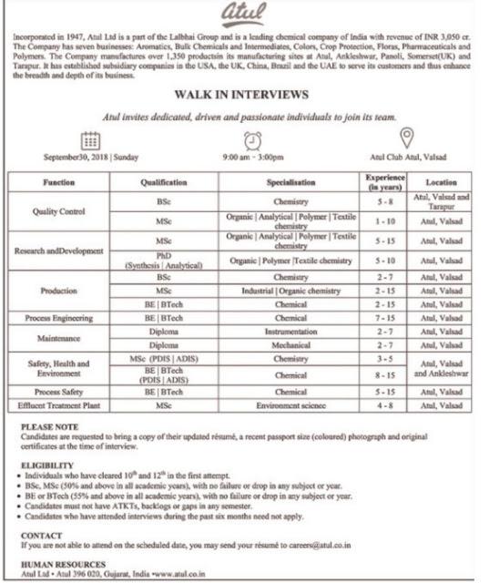 Atul Limited Walk In Interview for B.Sc, M.Sc, Ph.D., B.E, B.Tech, Diploma at 30 Sep