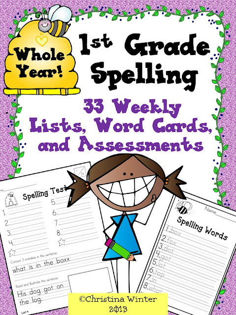This first grade spelling program has word lists and assessments for the entire year. For each spelling/phonics pattern there is a fun worksheet that are perfect for your students to use in literacy centers, for morning work, or homework.