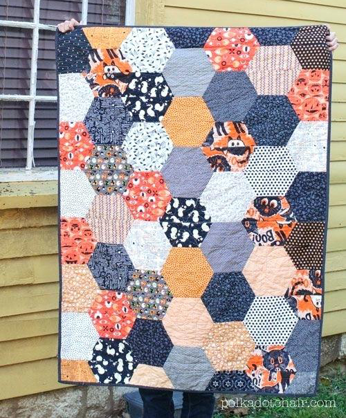 Large Hexagon Quilt Free Tutorial designed by Melissa of Polkadot Chair
