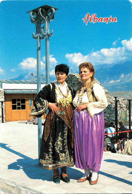 incoming traditional dresses postcard from Albania
