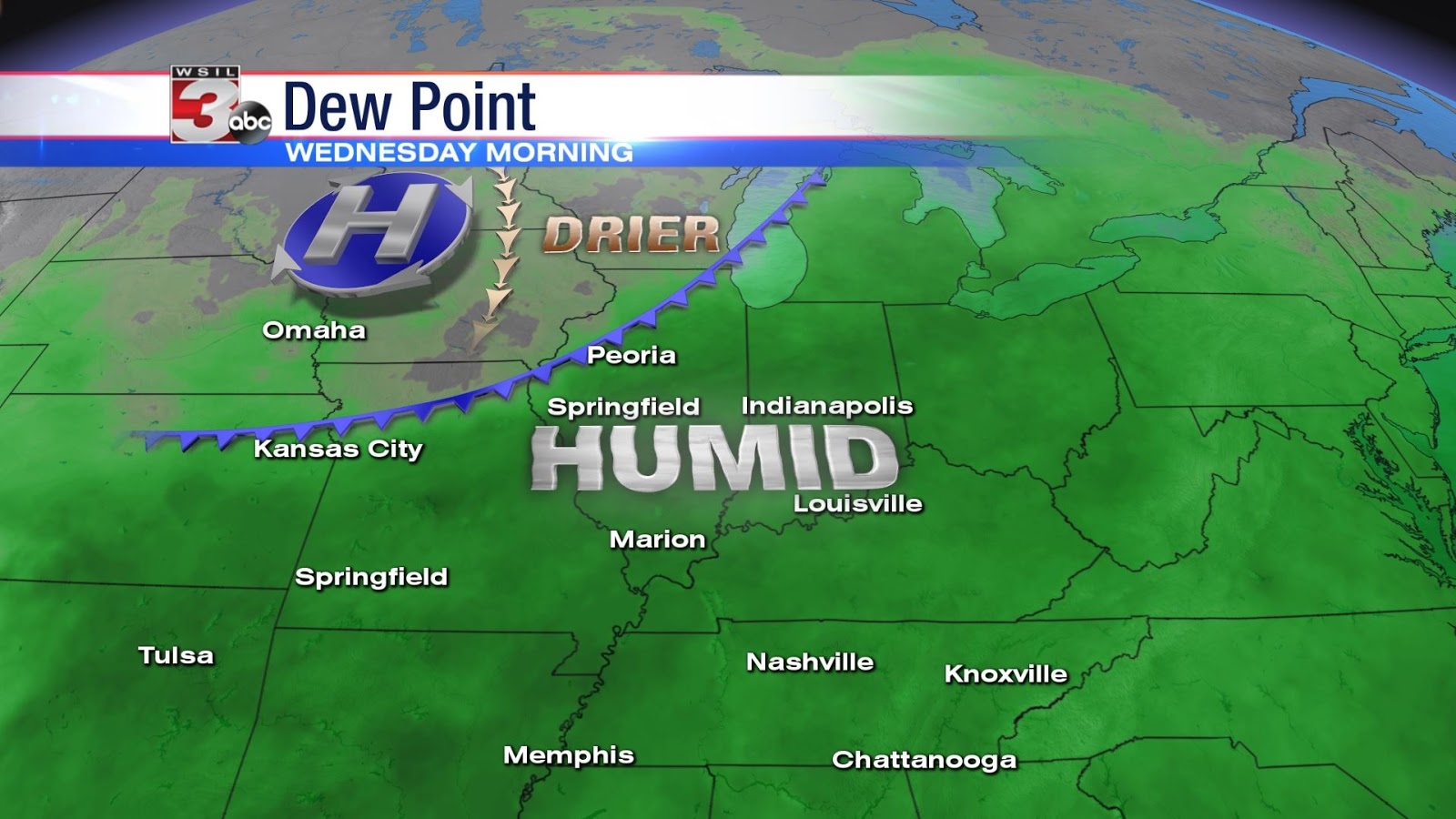 wednesday morning dew point map highlighting the drier air moving in from the north