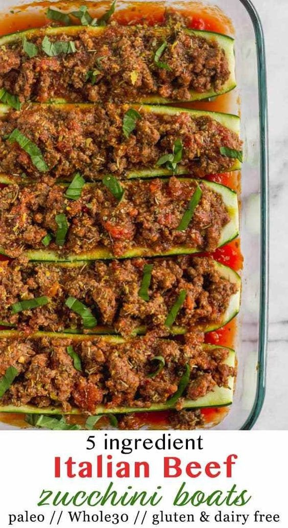 Whole30 Italian Beef Zucchini Boats
