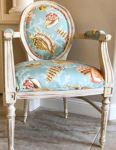 Upholstered Arm Chair Coastal Sea Life shell Fabric